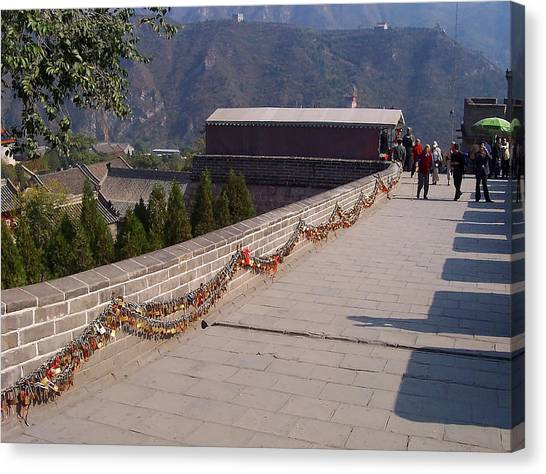 Border Wall Canvas Print - Lovers Locks Great Wall China by Debbie Oppermann