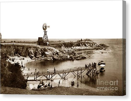 Lovers Point Beach And Old Wooden Pier Pacific Grove August 18 1900 Canvas Print