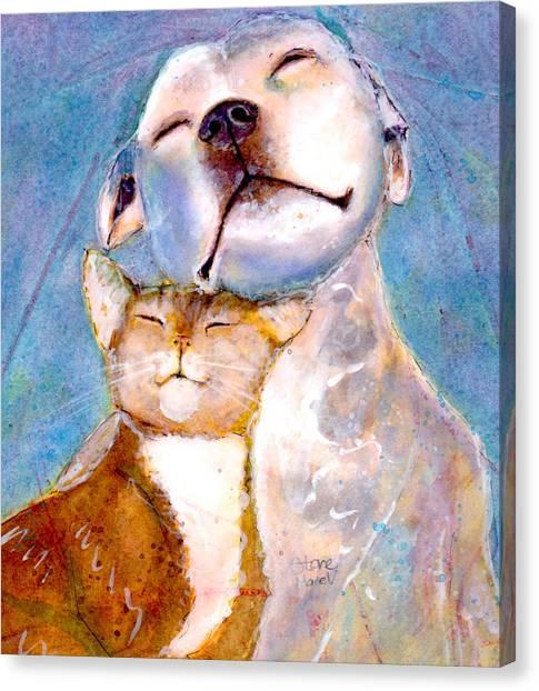Pit Bull Canvas Print - Lovey Dovey by Marie Stone Van Vuuren
