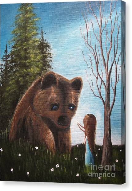 Brown Bears Canvas Print - Loving All God's Creatures By Shawna Erback by Artisan Parlour