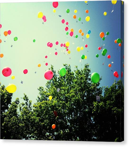 Low Angle View Of Balloons Canvas Print by Christin Borbe / Eyeem