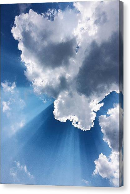 Low Angle View Of Cloudy Sky Canvas Print by Cory Voecks / Eyeem