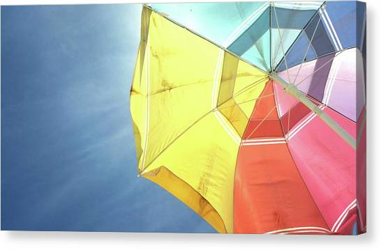 Low Angle View Of Colorful Parasol Canvas Print