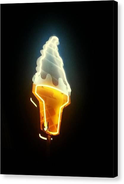 Low Angle View Of Ice Cream Neon Sign Canvas Print by Scott Crayne / Eyeem