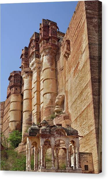 Thar Desert Canvas Print - Low Angle View Of Mehrangarh Fort / by Adam Jones