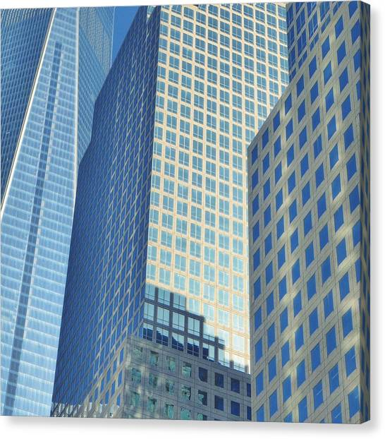 Low Angle View Of Office Buildings Canvas Print