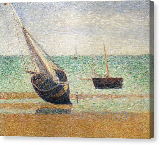 Pointillism Canvas Print - Low Tide At Grandcamp by Georges Pierre Seurat