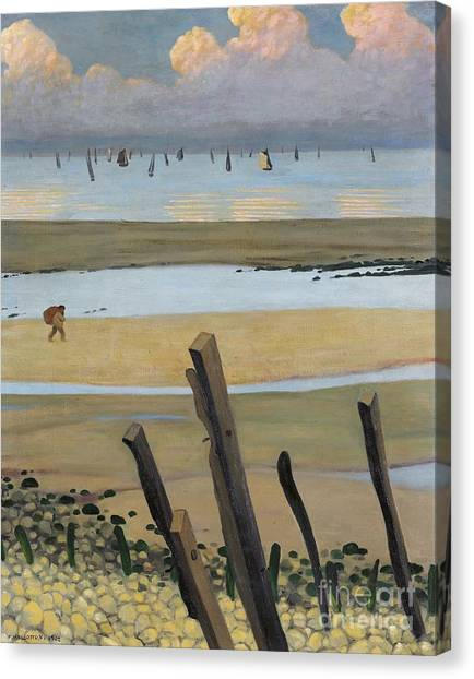 Low Tide Canvas Print - Low Tide At Villerville by Felix Edouard Vallotton