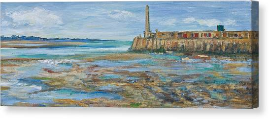 Low Tide In The Harbour. Canvas Print