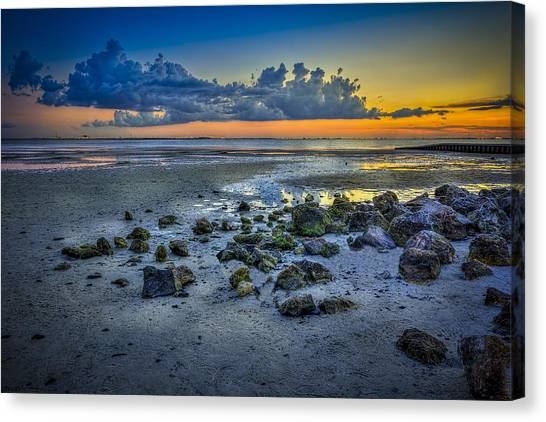 Low Tide Canvas Print - Low Tide On The Bay by Marvin Spates
