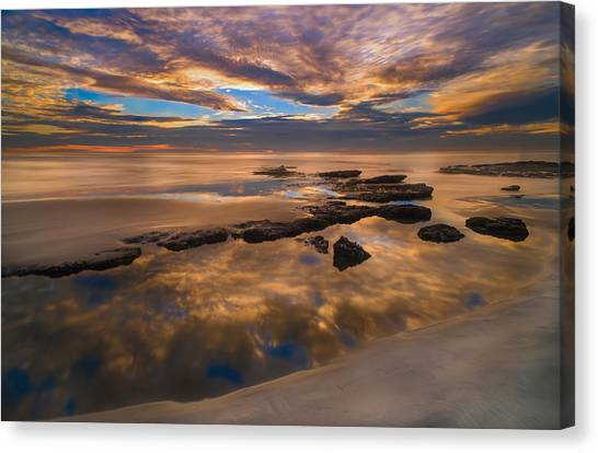 Coastal Landscape Canvas Print - Low Tide Reflections by Larry Marshall