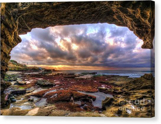 Low Tide Canvas Print - Low Tide Sunset In La Jolla by Eddie Yerkish