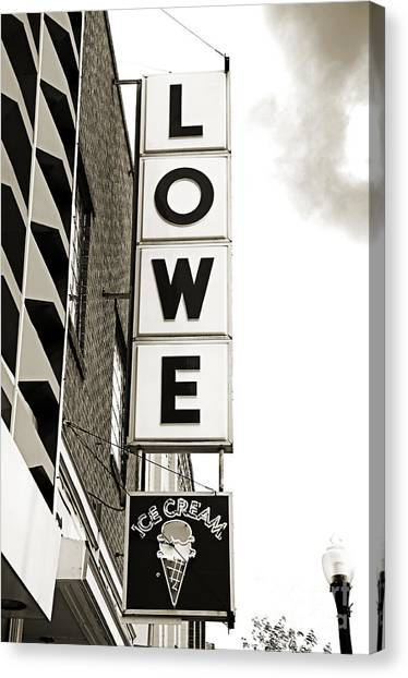 Andee Design Bw Canvas Print - Lowe Drug Store Sign Bw by Andee Design