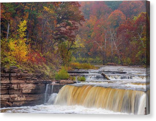 Indiana Autumn Canvas Print - Lower Cataract Falls On Mill Creek by Chuck Haney