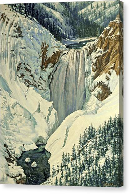 Yellowstone Canvas Print - Lower Falls-april by Paul Krapf