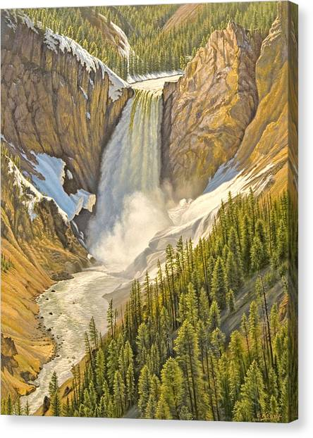 Yellowstone Canvas Print - Lower Falls-may   by Paul Krapf