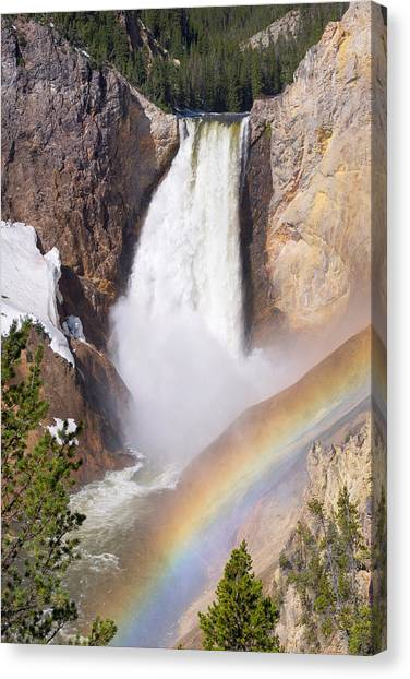 Great Falls Of Yellowstone Canvas Print - Lower Falls With Rainbow - Yellowstone National Park by Aaron Spong
