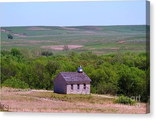 Lower Fox Creek Schoolhouse In The Flint Hills Of Kansas Canvas Print