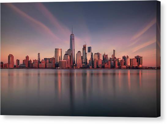 Manhattan Canvas Print - Lower Manhattan At Dusk by David D