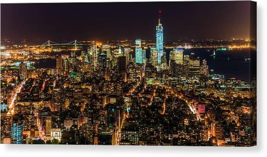 Lower Manhattan At Night 2 Canvas Print