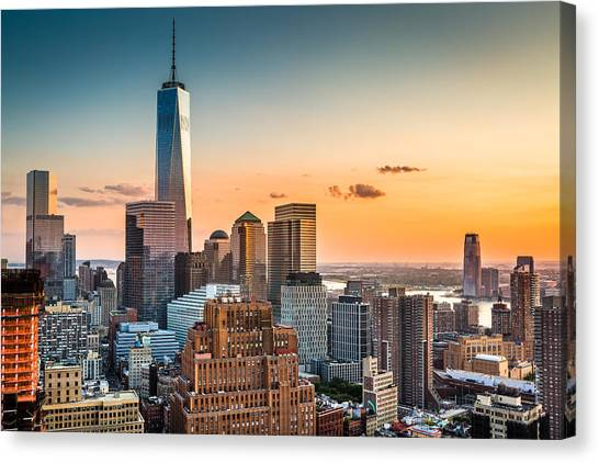 Lower Manhattan At Sunset Canvas Print