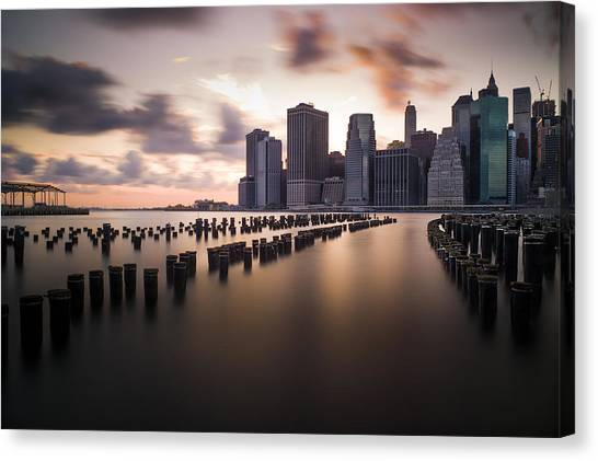 Lower Manhattan From Brooklyn Canvas Print by Chris Halford