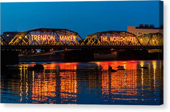 Jerseys Canvas Print - Lower Trenton Bridge by Louis Dallara