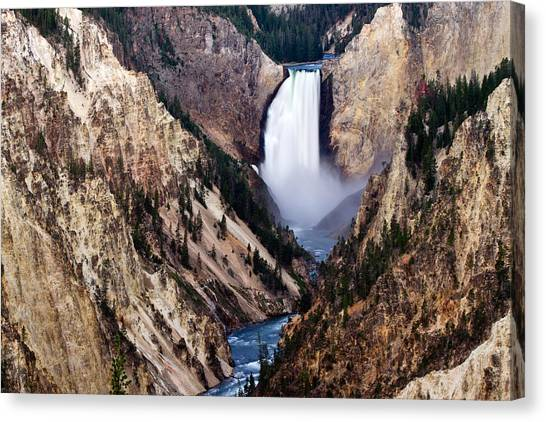 Mountain Cliffs Canvas Print - Lower Yellowstone Falls by Bill Gallagher