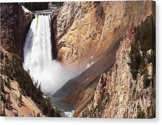 Great Falls Of Yellowstone Canvas Print - Lower Yellowstone Falls Eleven by Donald Sewell
