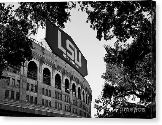 Fighting Canvas Print - Lsu Through The Oaks by Scott Pellegrin