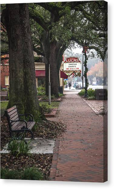 Pavers Canvas Print - Lucas Theater From Reynolds Square by Erin Cadigan