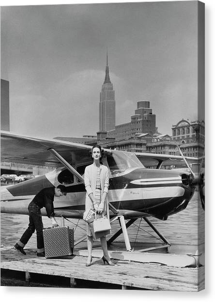 Two Canvas Print - Lucille Cahart With Small Plane In Nyc by John Rawlings