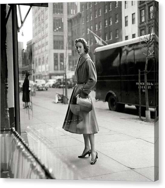 Lucille Carhart Window Shopping On A Street Canvas Print