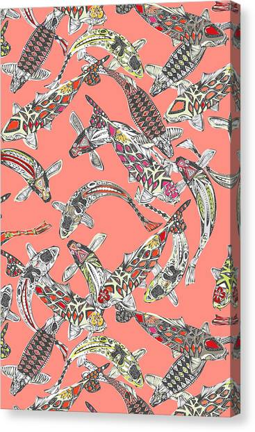 Pattern Canvas Print - Lucky Koi Coral by Sharon Turner