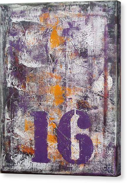 Lucky Number 16 Purple Orange Grey Abstract By Chakramoon Canvas Print by Belinda Capol