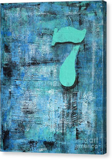 Lucky Number 7 Blue Turquoise Abstract By Chakramoon Canvas Print by Belinda Capol