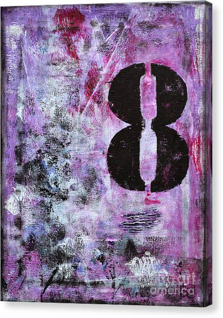 Lucky Number 8 Pink Black White Abstract By Chakramoon Canvas Print by Belinda Capol