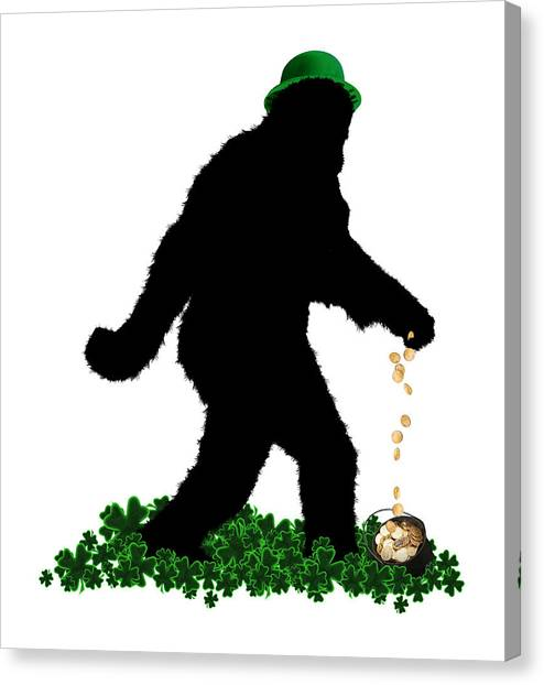 St. Patricks Day Canvas Print - Lucky Sasquatch by Gravityx9  Designs