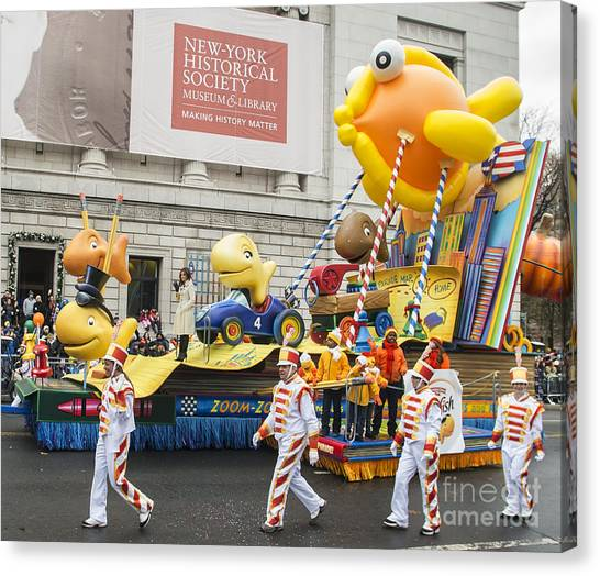 Macys Parade Canvas Print - Lucy Hale On Goldfish On Parade Float By Pepperidge Farm At Macy's Thanksgiving Day Parade by David Oppenheimer