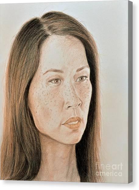 Lucy Liu Canvas Print - Lucy Liu Natural Beauty by Jim Fitzpatrick