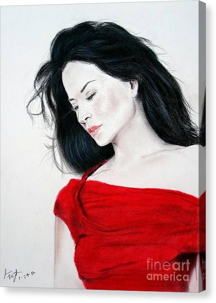 Lucy Liu Canvas Print - Lucy Liu The Lady In Red by Jim Fitzpatrick