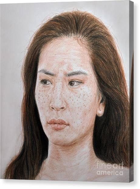 Lucy Liu Canvas Print - Lucy Liu The Stare by Jim Fitzpatrick