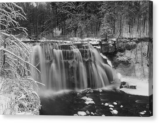 Ludlowville Falls In Winter I Canvas Print
