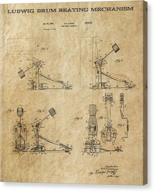 Notable Canvas Print - Ludwig Drum Pedal 3 Patent Art 1951 by Daniel Hagerman