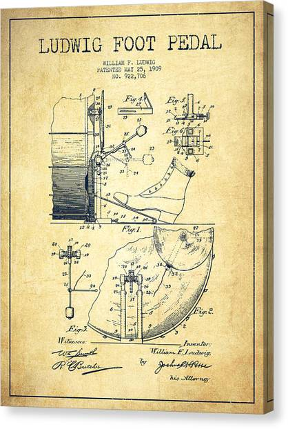 Folk Art Canvas Print - Ludwig Foot Pedal Patent Drawing From 1909 - Vintage by Aged Pixel