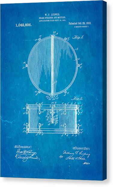 Snares Canvas Print - Ludwig Snare Drum Patent Art 1912 Blueprint by Ian Monk