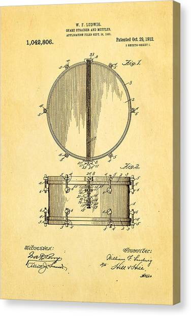 Snares Canvas Print - Ludwig Snare Drum Patent Art 1912 by Ian Monk