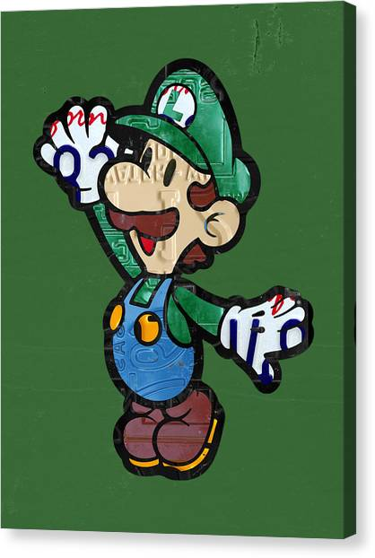 Nintendo Canvas Print - Luigi From Mario Brothers Nintendo Original Vintage Recycled License Plate Art Portrait by Design Turnpike