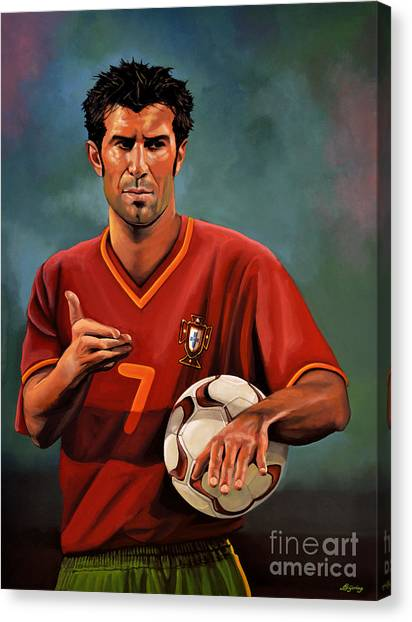 Goal Canvas Print - Luis Figo by Paul Meijering
