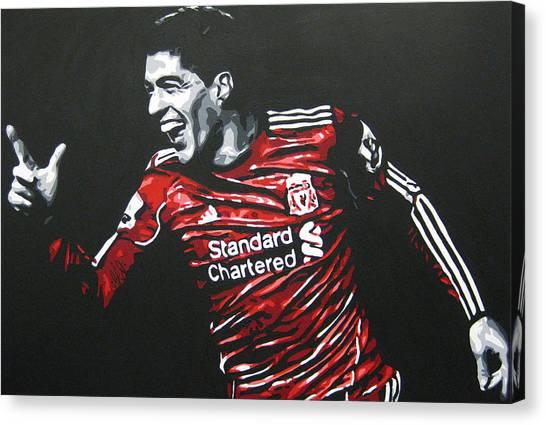 Liverpool Fc Canvas Print - Luis Suarez - Liverpool Fc 2 by Geo Thomson